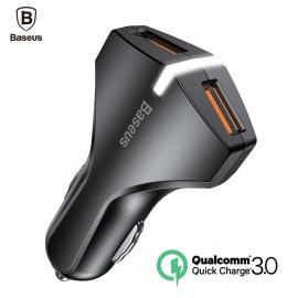 Greito krovimo 2-jų jungčių automobilinis USB įkroviklis BASEUS Rocket QC 3.0