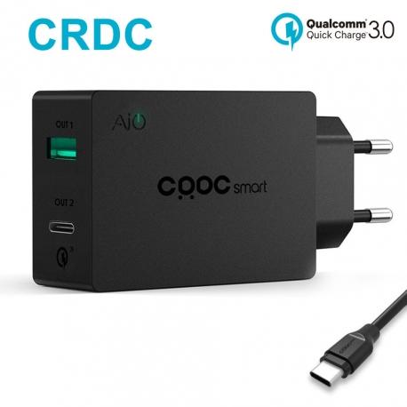 Universalus greito krovimo 2-jų jungčių telefono įkroviklis CRDC su Type-C QS 3.0 ir laidu, 3A 27W
