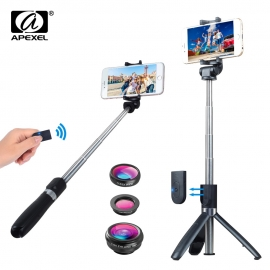 3-jų telefono objektyvų rinkinys  su trikoju stovu / asmeniukių (selfie) lazda APEXEL ir bluetooth pulteliu
