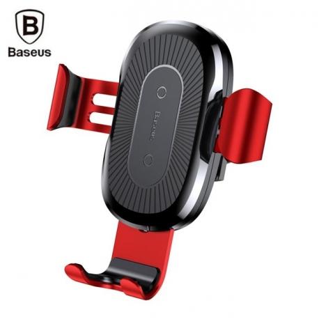 Automobilinis telefono laikiklis - bevielis ( QI wireless charging ) įkorviklis BASEUS, įstatomas į groteles