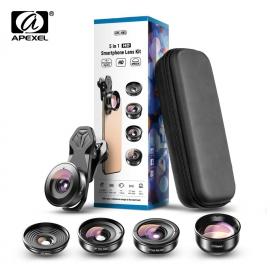 Universlus 5-jų objektyvų rinkinys telefonui APEXEL HD Pro su saugiu dėklu