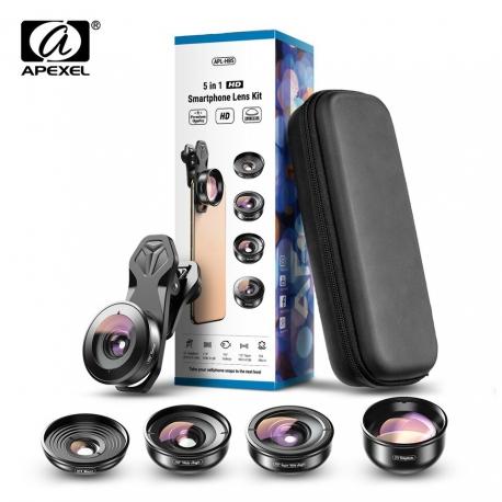 Universlus 5-jų objektyvų rinkinys telefonui APEXEL HD Pro su dėklais ir krepšiu