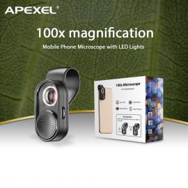Universlus Macro telefono objektyvas su LED  APEXEL Microscope X100