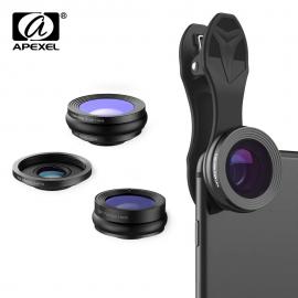 Universlus 3-jų objektyvų rinkinys telefonui APEXEL su krepšeliu