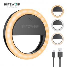 Žiedo formos led šviesos lempa (selfie ring) Blitzwolf telefonui, pakraunama, juoda