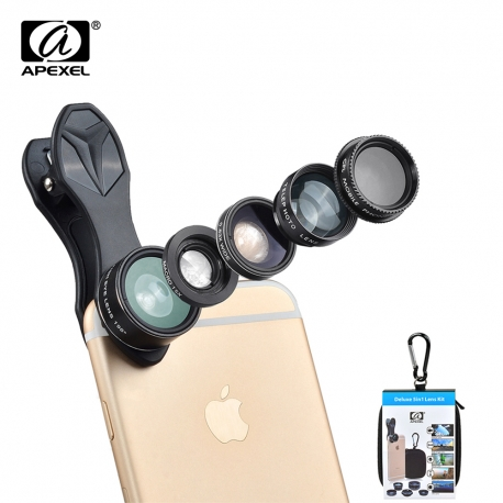 5-jų objektyvų rinkinys telefonui APEXEL su dėklu