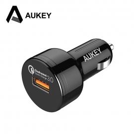 Automobilinis telefono USB 3A įkroviklis AUKEY Quick Charge 3.0 su Type-C laidu