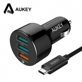 Automobilinis 3-jų USB jungčių telefono įkroviklis AUKEY Quick Charge 3.0 su Type-C laidu