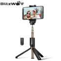 Bluetooth asmenukių lazda (selfie stick) Blitzwolf, trikojė, su pulteliu