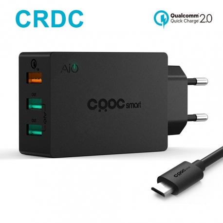 Universalus greito krovimo 3-jų USB jungčių telefono įkroviklis CRDC su QS 2.0, 42W
